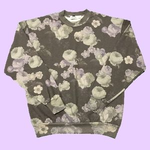 TOPMAN Size Small Floral Print Grey Sweatshirt